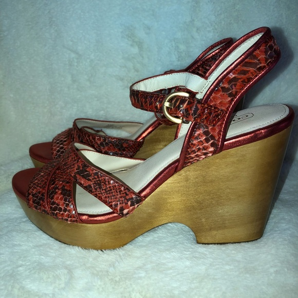 f64ce3874a6 New*Coach NIKKI Wood Wedge Snakeskin Sandal 8 1/2 NWT